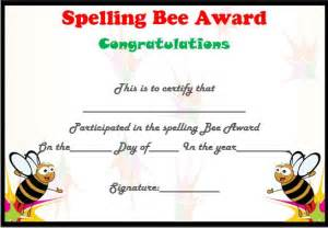 Spelling Bee Award Certificate Template by 21 Free Printable Spelling Bee Certificates Participation