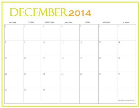 December 2014 Printable Calendar Shining Mom | free printable december 2014 calendar by shining mom
