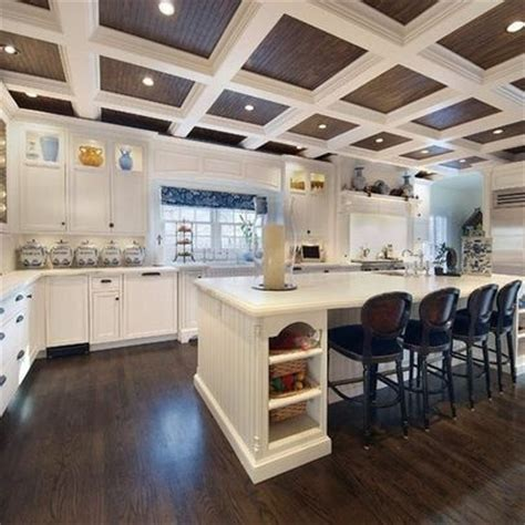 Stained Coffered Ceiling Coffered Ceiling With Stained Beadboard For The Home