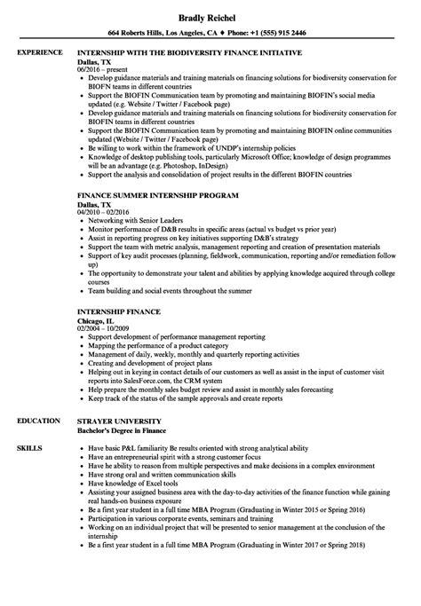 Resume For Mba Finance Internship by Internship Finance Resume Sles Velvet
