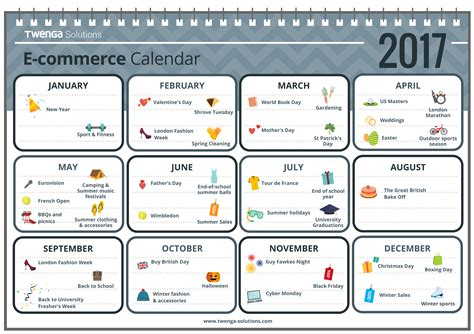 E Calendar 2017 Web Marketing And E Commerce Calendar For 2017