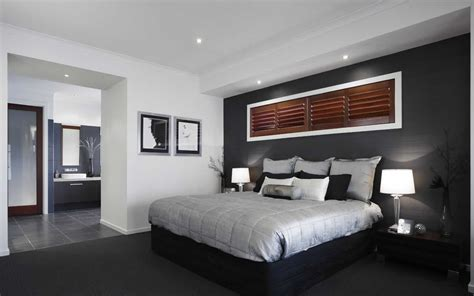 black and white feature wallpaper great combination of dark feature wall rich timber shutter