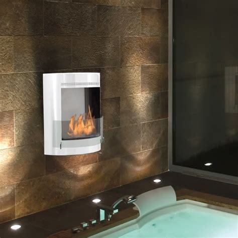 fireplace in bathroom wall malibu white wall mounted ethanol fireplace bathroom
