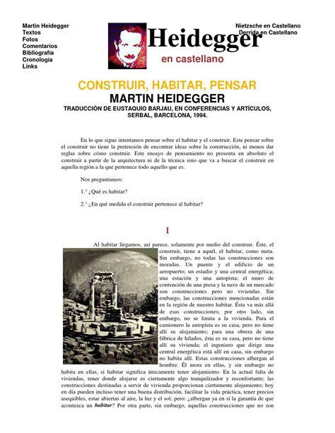 construir habitar pensar martin heidegger construir habitar pensar by luis mondrag 211 n issuu