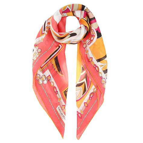 Kaos Oblong 61 lyst emilio pucci printed silk scarf in pink