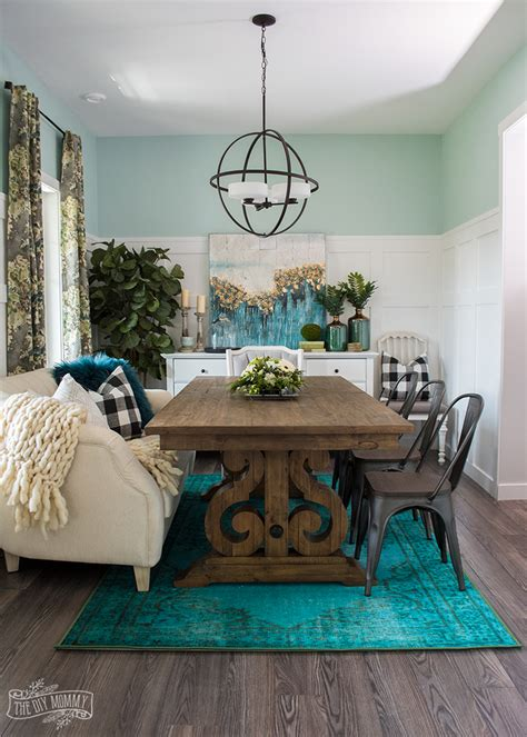 teal dining room ideas a boho farmhouse dining room reveal one room challenge