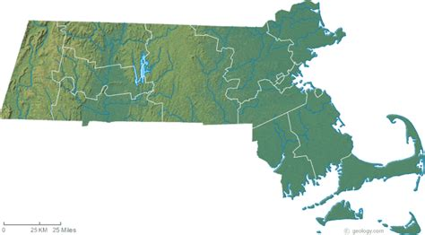 massachusetts physical map map of massachusetts