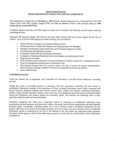hr consulting template 40 consulting agreement sle