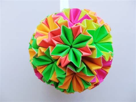 Origami Bauble - paper origami bauble hanging ornament decoration
