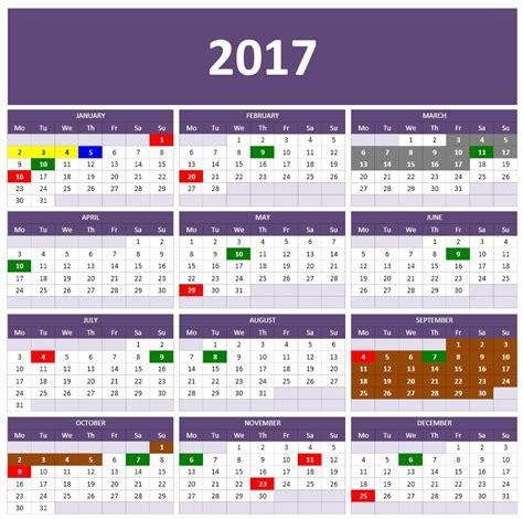 Calendar On Excel 2017 Calendars Excel Calendars