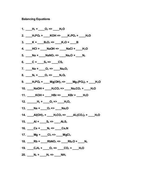 balancing equations practice worksheet answers homeschooldressage com