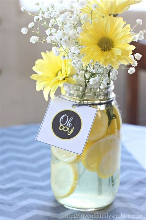 centerpiece for a baby shower gray yellow baby shower decorating ideas easy centerpieces with lemon slices baby s breath