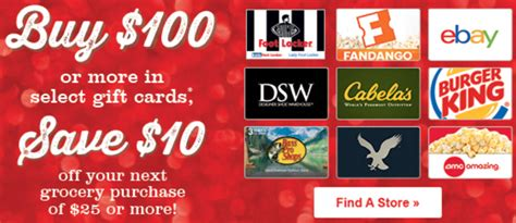 Ebay Gift Card Safeway - safeway gift card offers get 10 voucher with 100 ebay cabela s and more 15 off