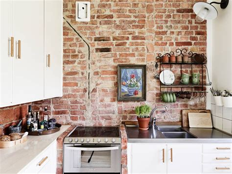 Brick Wall Kitchen Brookline rustic kitchen kitchen white marbleceramic tile for