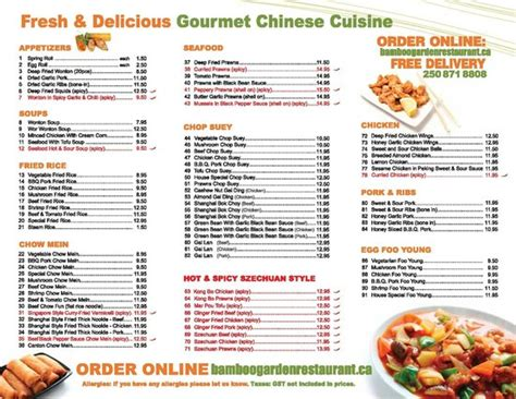 bamboo garden takeout menu page 2 picture of bamboo