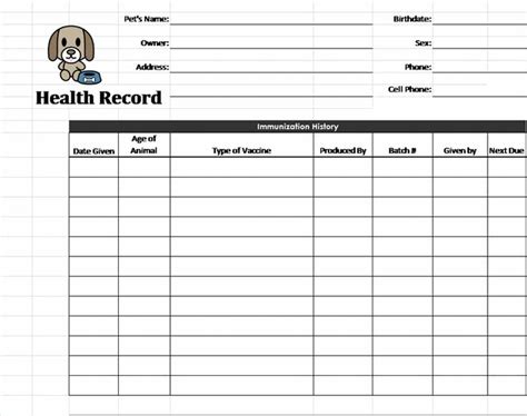 pet health record template pet care pinterest pets