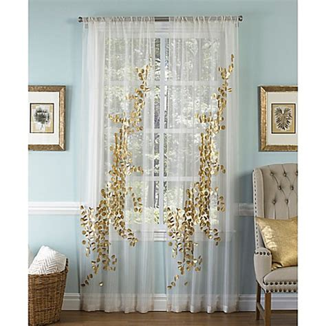 Sheer Gold Curtains Buy Callisto Aura 96 Inch Rod Pocket Sheer Window Curtain Panel In White Gold From Bed Bath Beyond