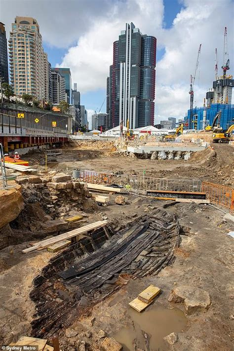 old boat found in sydney workers constructing new rail station in sydney uncover