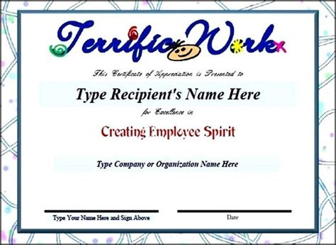 employee appreciation certificate template search results for employee of the month certificates