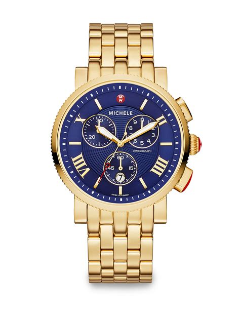 michele watches sport sail 18k goldplated stainless steel