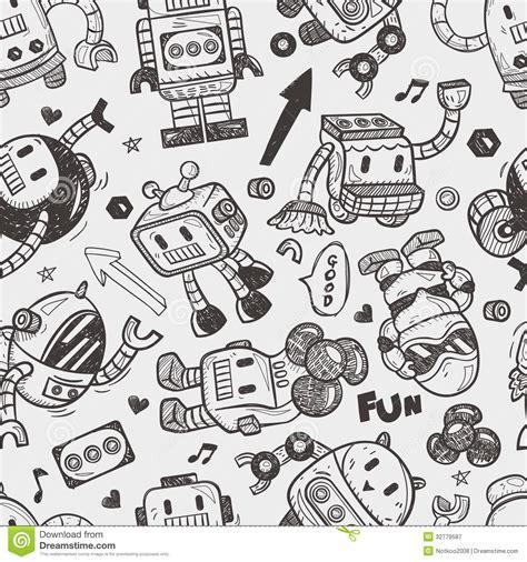 pattern drawing illustrator seamless robot pattern royalty free stock photography