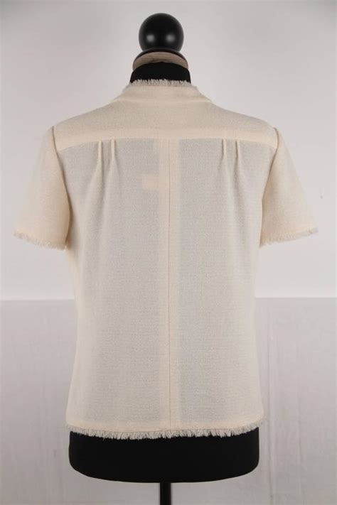 beige and coco clothing line chanel beige wool blend coco line jacket short sleeve size
