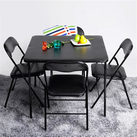 cosco 5 card table set card square dining table and 4 chairs set folding padded