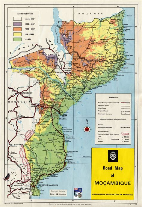 road map for mozambique road map mozambique mappery