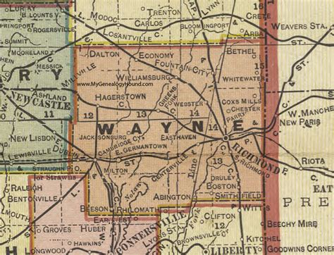 Wayne County Search Wayne County Indiana 1908 Map Richmond