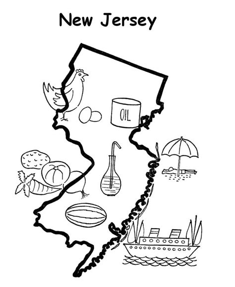 coloring map of new jersey coloring pages