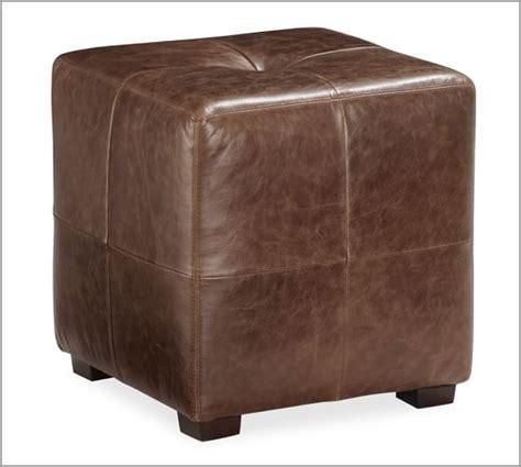 sullivan leather square ottoman sullivan leather cube pottery barn