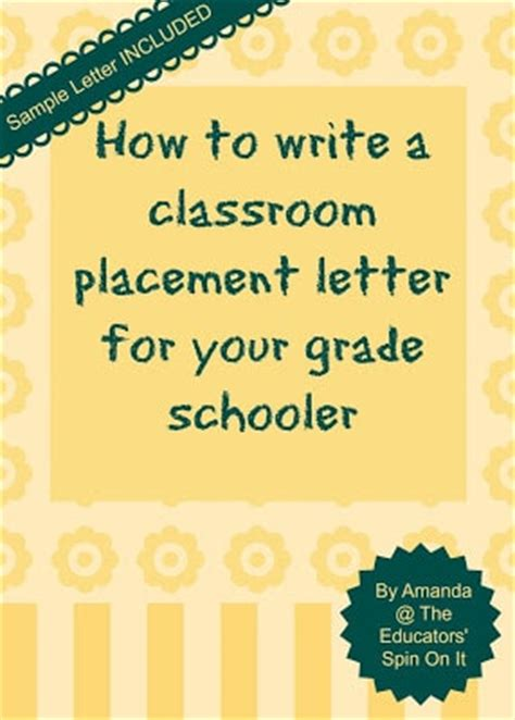 thank you letter to 4th grade how to write a classroom placement letter or request