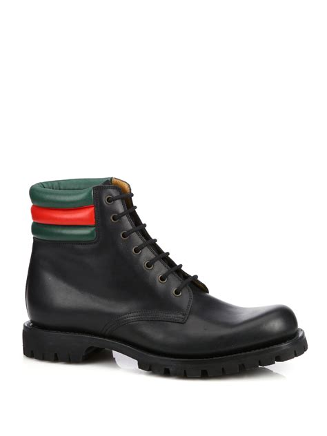 gucci marland leather lace up boots in black for lyst