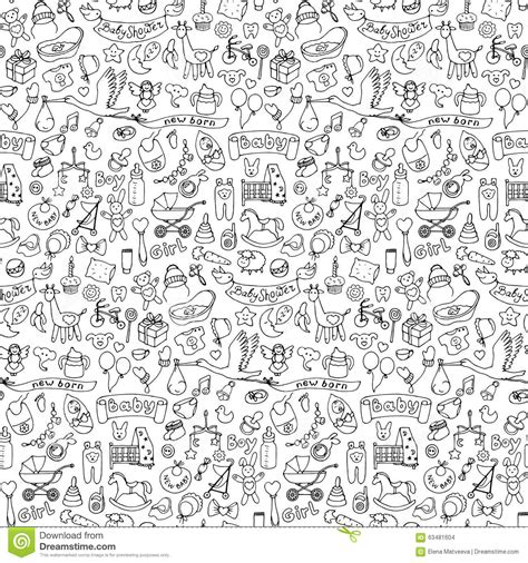 hand drawn wallpaper seamless hand drawn doodle baby pattern stock vector