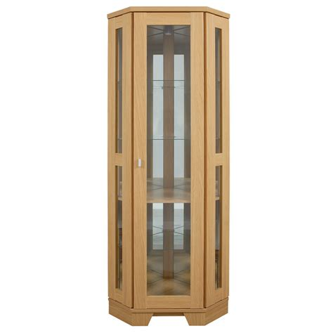 Corner Cabinets With Doors Corner Display Cabinet Oak Finish Glass Fronted Door Narrow Design Ebay