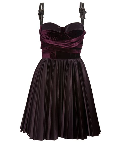 versus velvet dress with leather straps in purple lyst