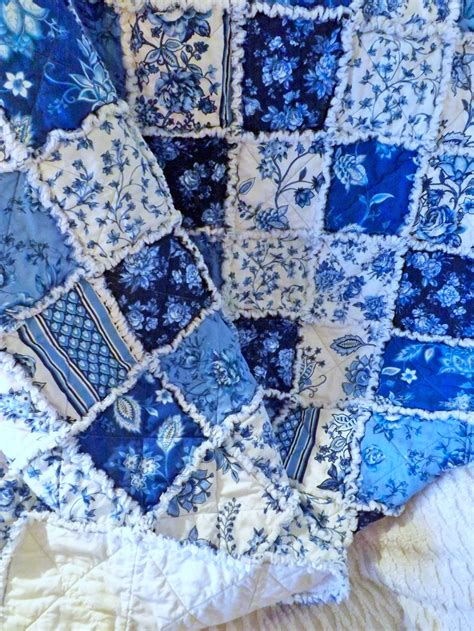 And Blue Quilt by Blue And White Floral Rag Quilt Cottage Style Large