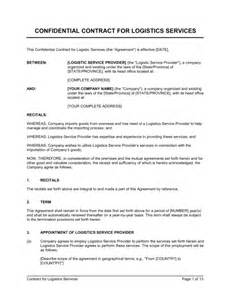 shipping contract template contract for logistics services template sle form