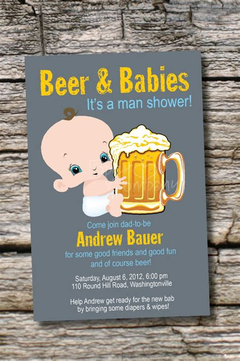 man shower beer and babies diaper party invitation