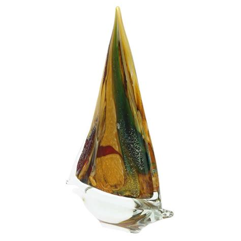 glass sailboat murano glass sailboat chalcedony glass sailboat sculpture