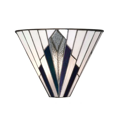 art deco wall light with white glass and mirror panels tiffany art deco wall light with white blue purple and