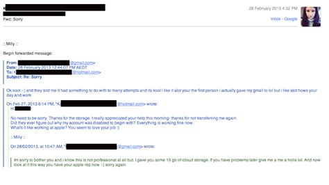 email customer service xl an apple rep is adorably stalking my wife gizmodo australia