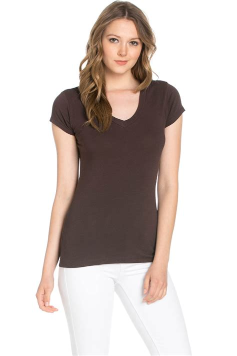 V Neck Basic Brown brown basic v neck sleeve top my yuccie