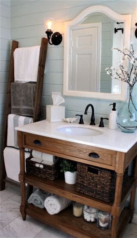 rustic chic bathroom vanity loving this bathroom ladder for linens nice rustic but chic vanity pretty blue