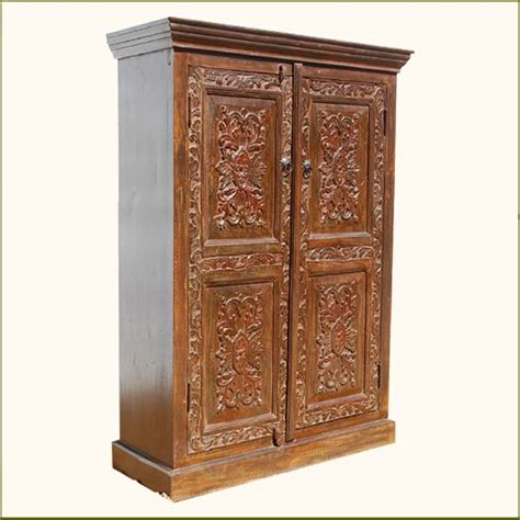 armoire closet wardrobe wood hand carved storage armoire clothes wardrobe closet w 3 shelves furniture ebay