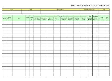 daily production report template xls daily machine production report