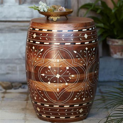 drum decorations for bedroom wood drum table hand crafted by artisans in india via