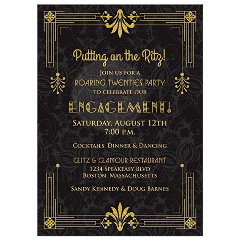 Black And White Kitchen Designs Photos by Roaring 20s Engagement Party Invitation Black Gold Art Deco