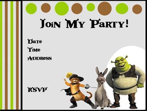 imagenes de invitaciones en ingles tarjetas de shrek para cumplea 241 os infantiles