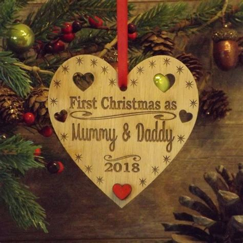 First 1st Christmas as Mummy & Daddy Personalised Heart